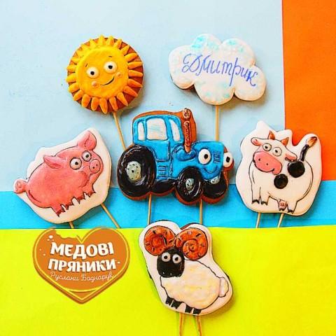 МЕДОВІ ПРЯНИКИ Синій трактор, набір № 00703, пряники для дітей, пряники топери на торт