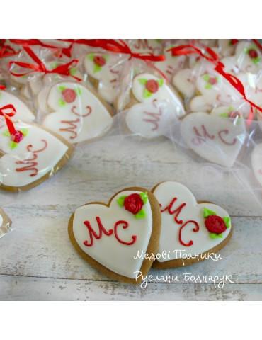 Бонбоньєрки весільні пряники,Серце з написом і малюнком, пряники на весілля, купити пряники на весілля, львів,  наречені