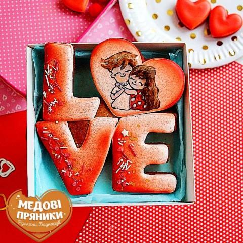 """МЕДОВИЙ ПРЯНИК-ЛИСТІВКА """"LOVE"""""""